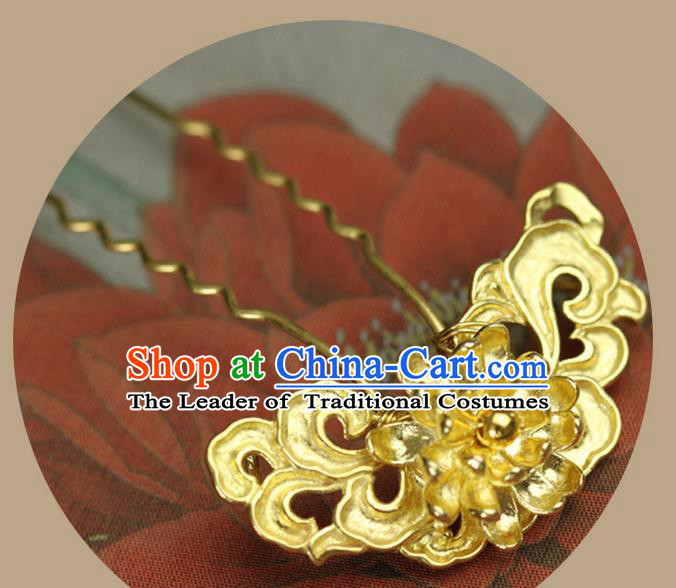 Traditional Handmade Chinese Ancient Classical Hair Accessories Brass Hairpin, Step Shake Hair Sticks Hair Fascinators Hairpins for Women