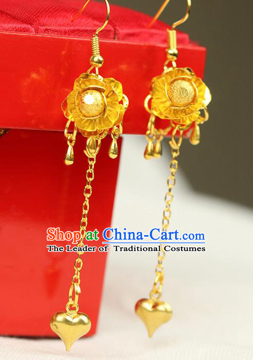 Chinese Ancient Style Hair Jewelry Accessories Wedding Golden Tassel Earrings, Hanfu Xiuhe Suits Bride Handmade Eardrop for Women