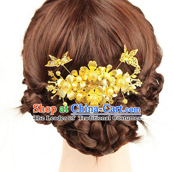 Traditional Handmade Chinese Ancient Classical Hair Accessories Hair Comb, Step Shake Hair Sticks Hair Fascinators Hairpins for Women