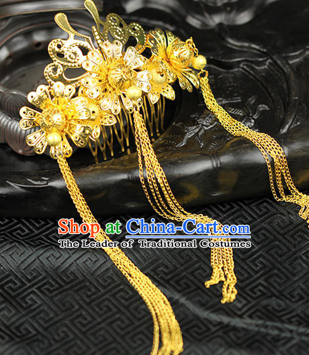 Asian Chinese Ancient Style Hair Jewelry Accessories Wedding Tassel Hairpins, Hanfu Xiuhe Suits Bride Handmade Hair Comb for Women