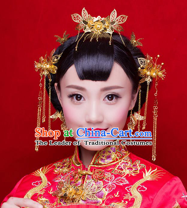 Asian Chinese Ancient Style Hair Jewelry Accessories Wedding Hairpins Complete Set, Lotus Step Shake Hanfu Xiuhe Suits Bride Handmade Hair Sticks for Women