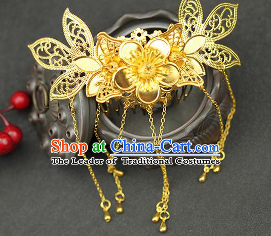 Asian Chinese Ancient Style Hair Jewelry Accessories Wedding Tassel Golden Hair Comb, Step Shake Hanfu Xiuhe Suits Bride Handmade Hair Sticks for Women