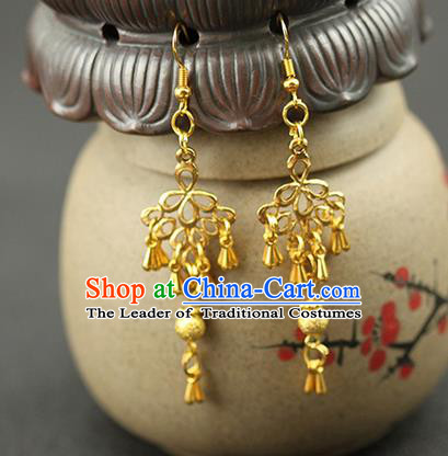 Chinese Ancient Style Hair Jewelry Accessories Wedding Golden Earrings, Hanfu Xiuhe Suits Bride Handmade Eardrop for Women