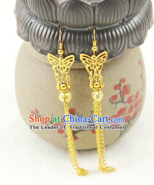 Chinese Ancient Style Hair Jewelry Accessories Wedding Golden Butterfly Earrings, Hanfu Xiuhe Suits Bride Handmade Eardrop for Women