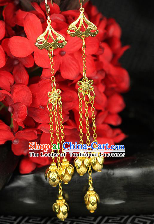 Chinese Ancient Style Hair Jewelry Accessories Wedding Imperial Consort Earrings, Hanfu Xiuhe Suits Bride Handmade Eardrop for Women
