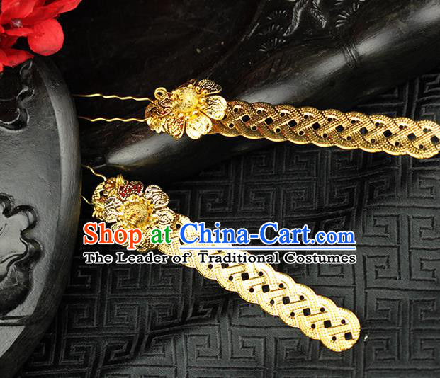 Chinese Ancient Style Hair Jewelry Accessories Wedding Hairpins, Hanfu Xiuhe Suits Step Shake Bride Tuinga Handmade Hair Stick for Women