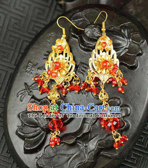 Chinese Ancient Style Hair Jewelry Accessories Wedding Imperial Consort Red Beads Earrings, Hanfu Xiuhe Suits Bride Handmade Eardrop for Women