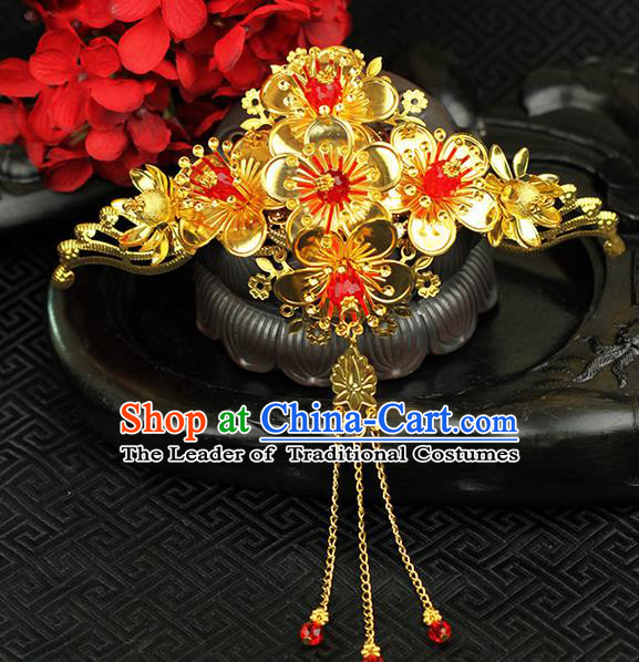 Chinese Ancient Style Hair Jewelry Accessories Wedding Phoenix Coronet, Hanfu Xiuhe Suits Step Shake Bride Tuinga Handmade Hair Stick for Women