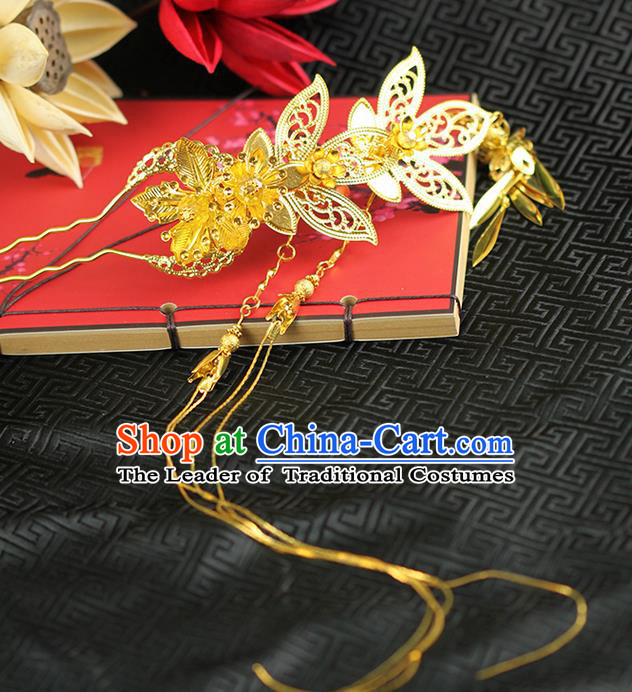 Chinese Ancient Style Hair Jewelry Accessories Wedding Luxury Tassel Hairpins, Hanfu Xiuhe Suits Step Shake Bride Handmade Hair Stick for Women