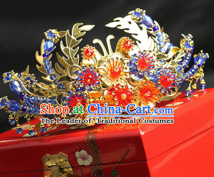 Asian Chinese Ancient Style Hair Jewelry Accessories Wedding Hanfu Xiuhe Suits Step Shake Bride Handmade Phoenix Coronet for Women