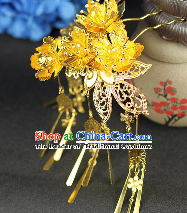Chinese Ancient Style Hair Jewelry Accessories Wedding Luxury Tassel Step Shake, Hanfu Xiuhe Suits Bride Handmade Hairpins for Women
