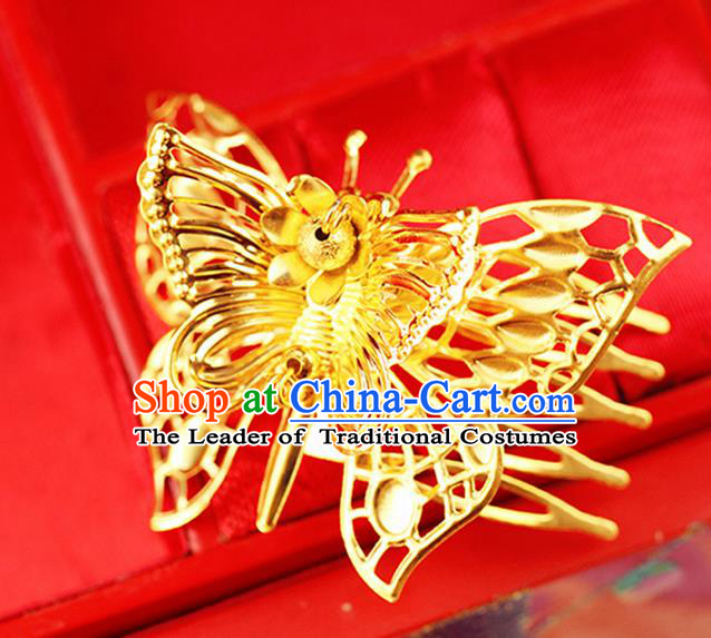 Chinese Ancient Style Hair Jewelry Accessories Wedding Hair Comb, Hanfu Xiuhe Suits Bride Handmade Hairpins for Women