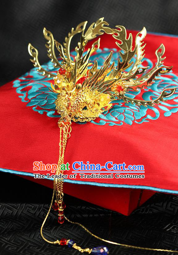 Asian Chinese Ancient Style Hair Jewelry Accessories, Wedding Hanfu Xiuhe Suits Step Shake Bride Handmade Tassel Phoenix Coronet for Women
