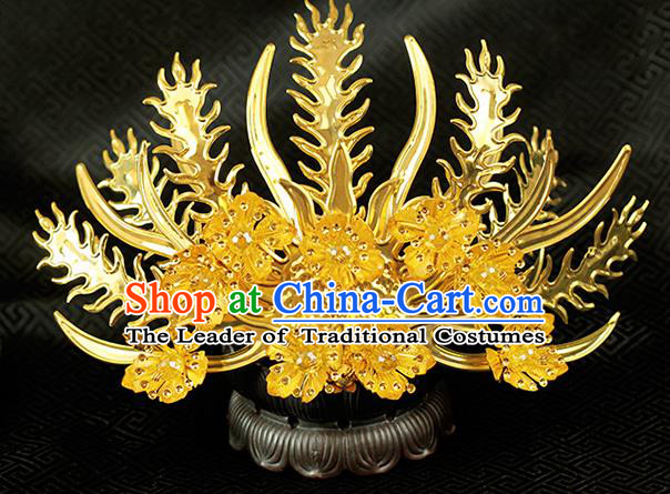 Chinese Ancient Style Hair Jewelry Accessories Wedding Golden Phoenix Coronet, Hanfu Xiuhe Suits Step Shake Bride Handmade Hairpins for Women