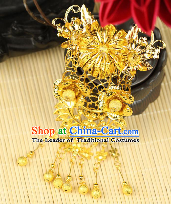 Chinese Ancient Style Hair Jewelry Accessories Wedding Tassel Hairpins, Hanfu Xiuhe Suits Step Shake Bride Tuinga Handmade Hair Comb for Women