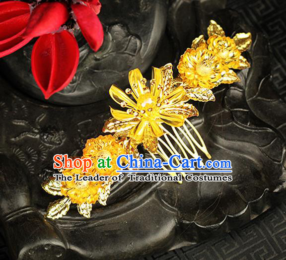 Chinese Ancient Style Hair Jewelry Accessories Wedding Flower Hair Comb, Hanfu Xiuhe Suits Step Shake Bride Handmade Hairpins for Women