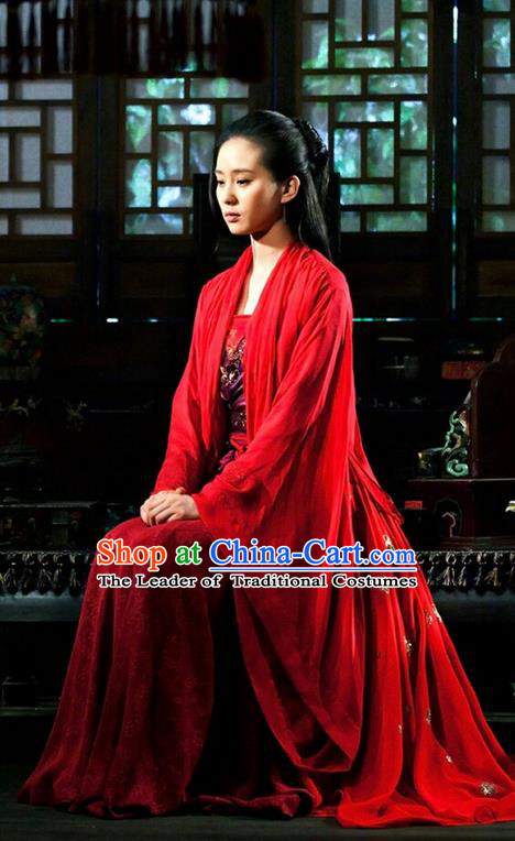 Asian Chinese Traditional Ancient Bride Wedding Costume and Headpiece Complete Set, Lost Love In Times China Northern and Southern Dynasties Fairy Princess Red Dress Clothing