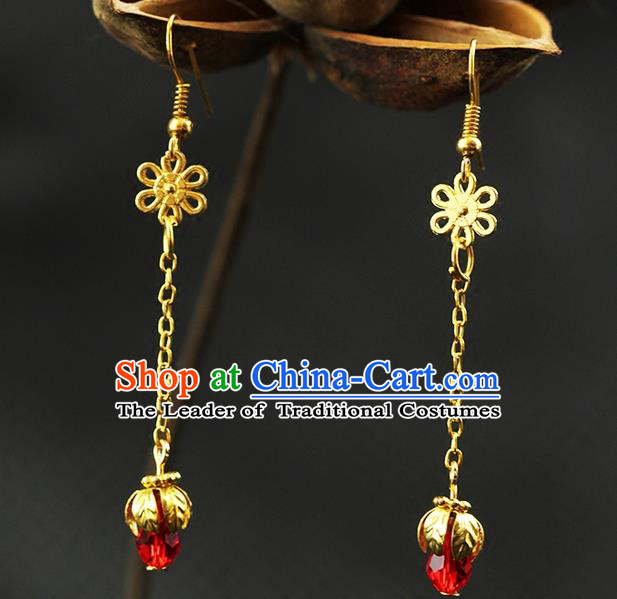 Chinese Ancient Style Hair Jewelry Accessories Wedding Imperial Consort Red Bead Earrings, Hanfu Xiuhe Suits Bride Handmade Golden Eardrop for Women