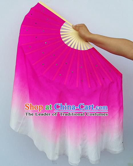 Pure Silk Traditional Chinese Fans Oriental Fan Folk Dance Cultural Pink Hand Fan