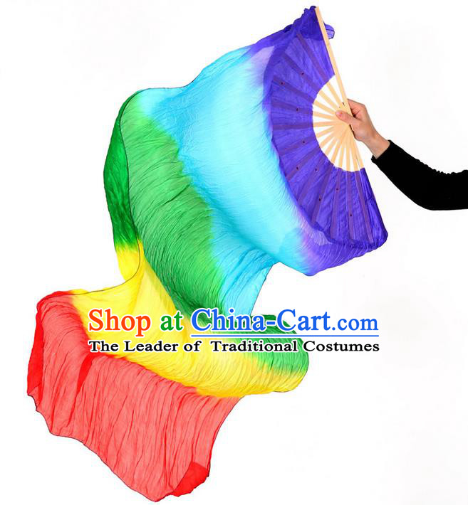 Pure Silk Traditional Chinese Fans Oriental Colorful Long Ribbon Fan Folk Dance Cultural Yanko Dance Hand Fan