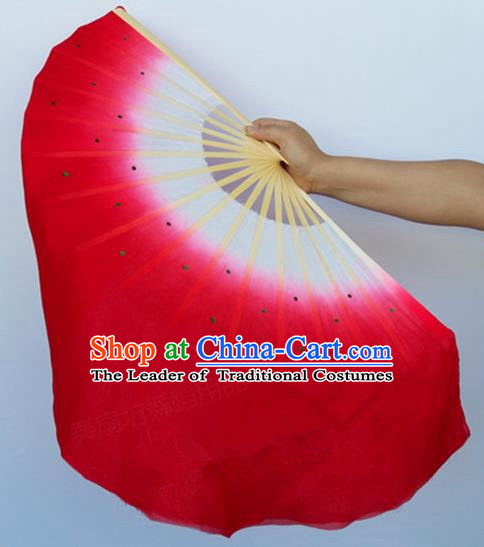 Pure Silk Traditional Chinese Fans Oriental Red Ribbon Fan Folk Dance Cultural Yanko Dance Hand Fan