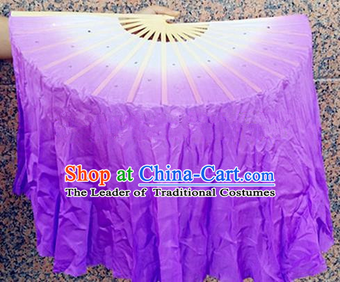 Pure Silk Traditional Chinese Fans Oriental Purple Ribbon Folding Fan Folk Dance Cultural Yangko Dance Hand Fan