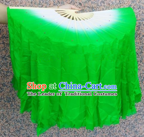 Pure Silk Traditional Chinese Fans Oriental Green Ribbon Folding Fan Folk Dance Cultural Yangko Dance Hand Fan