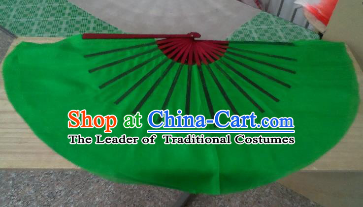 Pure Silk Traditional Chinese Fans Oriental Green Ribbon Fan Folk Dance Cultural Yangko Dance Hand Fan