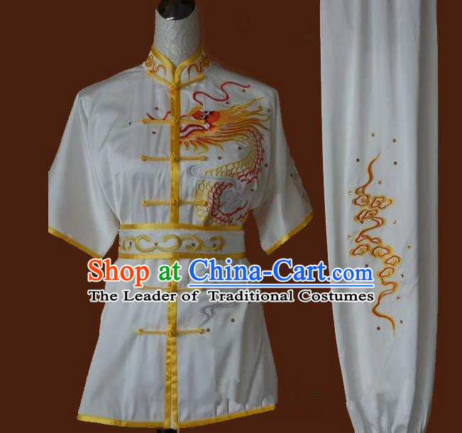 Top Grade Kung Fu Costume Asian Chinese Martial Arts Tai Chi Training Uniform, China Embroidery Dragon Gongfu Shaolin Wushu Clothing for Men
