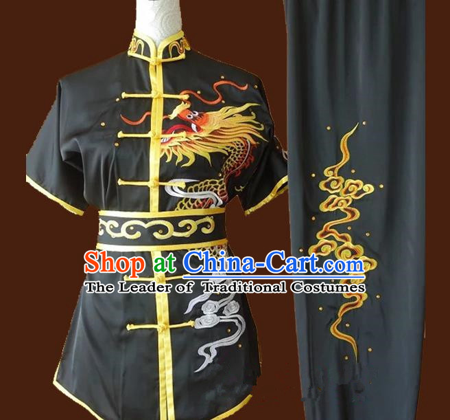 Top Grade Kung Fu Costume Asian Chinese Martial Arts Tai Chi Training Black Uniform, China Embroidery Dragon Gongfu Shaolin Wushu Clothing for Men