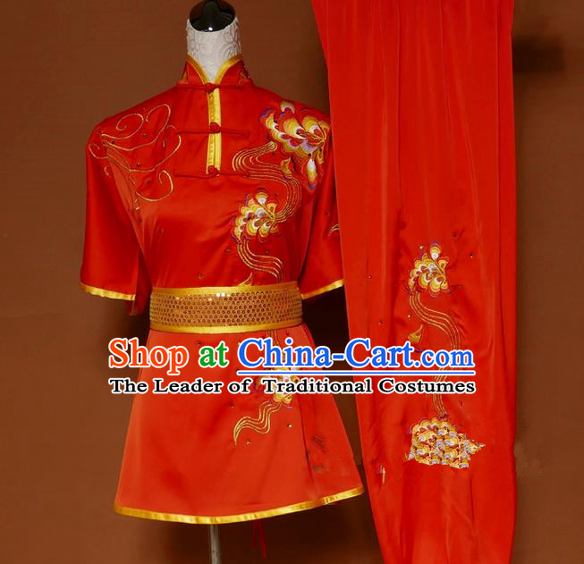 Top Grade Kung Fu Costume Asian Chinese Martial Arts Tai Chi Training Red Uniform, China Embroidery Gongfu Shaolin Wushu Clothing for Men