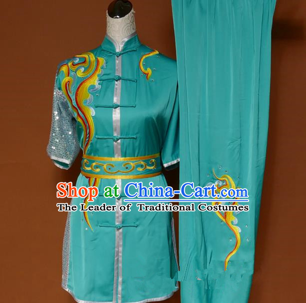 Top Grade Kung Fu Costume Asian Chinese Martial Arts Tai Chi Training Green Uniform, China Embroidery Gongfu Shaolin Wushu Clothing for Men for Women