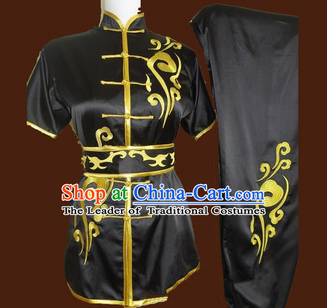Top Grade Kung Fu Costume Asian Chinese Martial Arts Tai Chi Training Black Uniform, China Embroidery Gongfu Shaolin Wushu Clothing for Men for Women