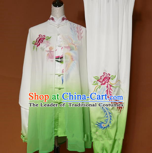 Top Grade Kung Fu Costume Asian Chinese Martial Arts Tai Chi Training White Uniform, China Embroidery Peony Phoenix Gongfu Shaolin Wushu Clothing for Women