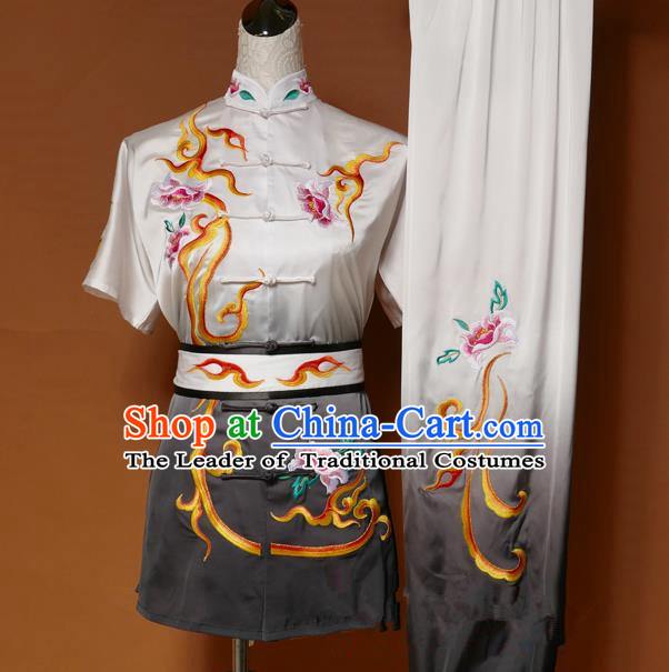Top Grade Kung Fu Costume Asian Chinese Martial Arts Tai Chi Training Black Uniform, China Embroidery Peony Gongfu Shaolin Wushu Clothing for Women