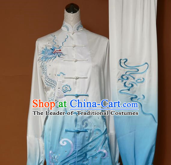 Top Grade Kung Fu Costume Asian Chinese Martial Arts Tai Chi Training Blue Uniform, China Embroidery Dragon Gongfu Shaolin Wushu Clothing for Women