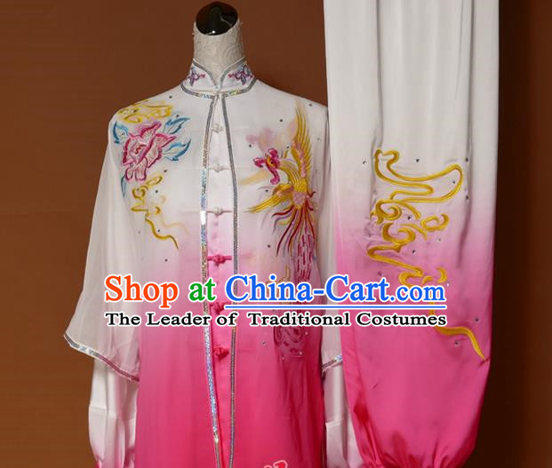 Top Grade Kung Fu Costume Asian Chinese Martial Arts Tai Chi Training Pink Uniform, China Embroidery Phoenix Peony Gongfu Shaolin Wushu Clothing for Women