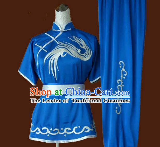 Asian Chinese Top Grade Silk Kung Fu Costume Martial Arts Tai Chi Training Suit, China Embroidery Gongfu Shaolin Wushu Blue Uniform for Women