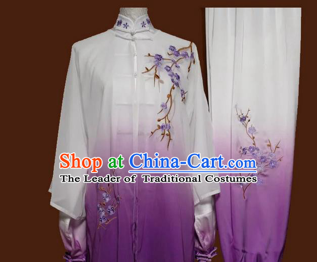 Asian Chinese Top Grade Silk Kung Fu Costume Martial Arts Tai Chi Training Suit, China Gongfu Shaolin Wushu Embroidery Wintersweet Gradient Purple Uniform for Women