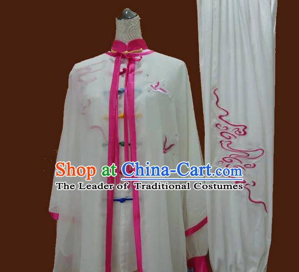 Asian Chinese Top Grade Silk Kung Fu Costume Martial Arts Tai Chi Training Suit, China Gongfu Shaolin Wushu Embroidery Wintersweet Pink Uniform for Women