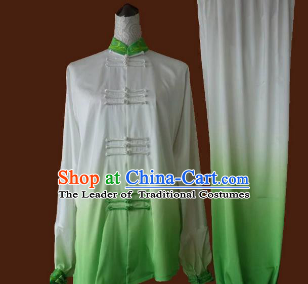 Asian Chinese Top Grade Silk Kung Fu Costume Martial Arts Tai Chi Training Suit, China Gongfu Shaolin Wushu Gradient Green Uniform for Women