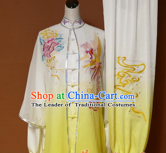 Top Grade Kung Fu Costume Asian Chinese Martial Arts Tai Chi Training Yellow Uniform, China Embroidery Phoenix Peony Gongfu Shaolin Wushu Clothing for Women