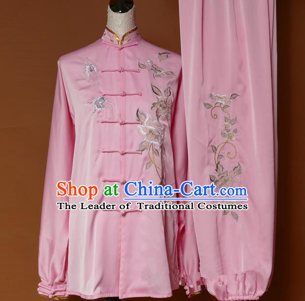 Top Grade Kung Fu Costume Asian Chinese Martial Arts Tai Chi Training Pink Uniform, China Embroidery Butterfly Peony Gongfu Shaolin Wushu Clothing for Women