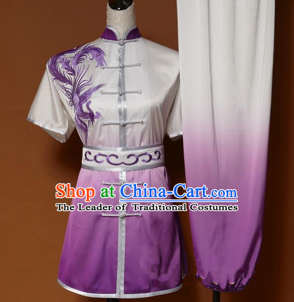 Top Grade Kung Fu Costume Asian Chinese Martial Arts Tai Chi Training Purple Uniform, China Embroidery Phoenix Gongfu Shaolin Wushu Clothing for Women