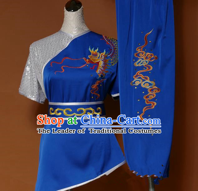 Top Grade Kung Fu Costume Asian Chinese Martial Arts Tai Chi Training Blue Uniform, China Embroidery Dragon Gongfu Shaolin Wushu Clothing for Men