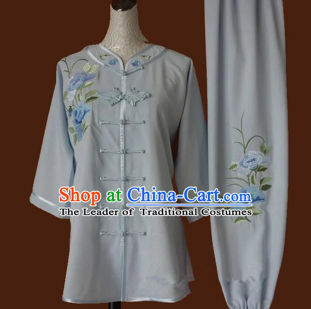 Top Grade Kung Fu Costume Asian Chinese Martial Arts Tai Chi Training Grey Uniform, China Embroidery Peony Gongfu Shaolin Wushu Clothing for Women