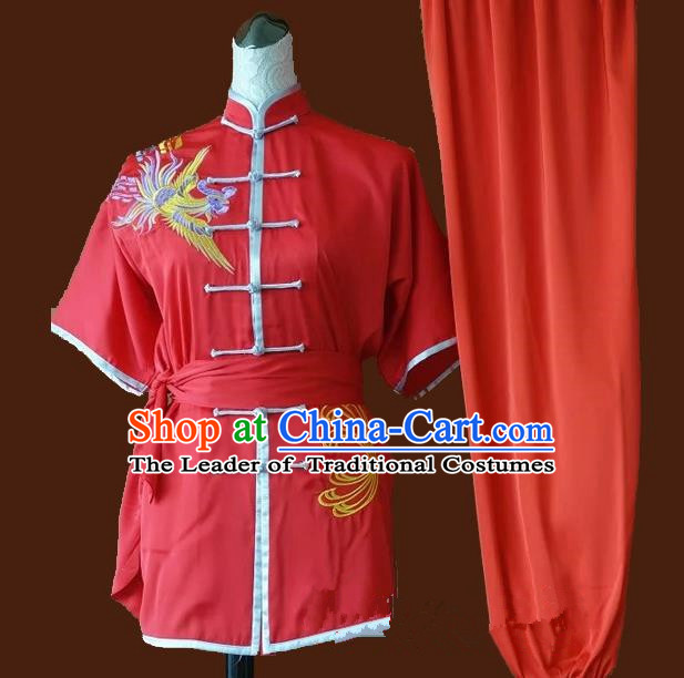 Top Grade Kung Fu Costume Asian Chinese Martial Arts Tai Chi Training Red Uniform, China Embroidery Phoenix Gongfu Shaolin Wushu Clothing for Women
