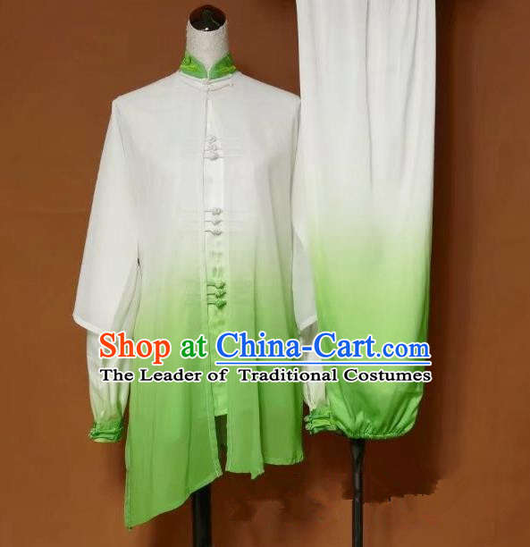 Top Grade Kung Fu Costume Asian Chinese Martial Arts Tai Chi Training Green Cardigan Uniform, China Embroidery Phoenix Gongfu Shaolin Wushu Clothing for Women