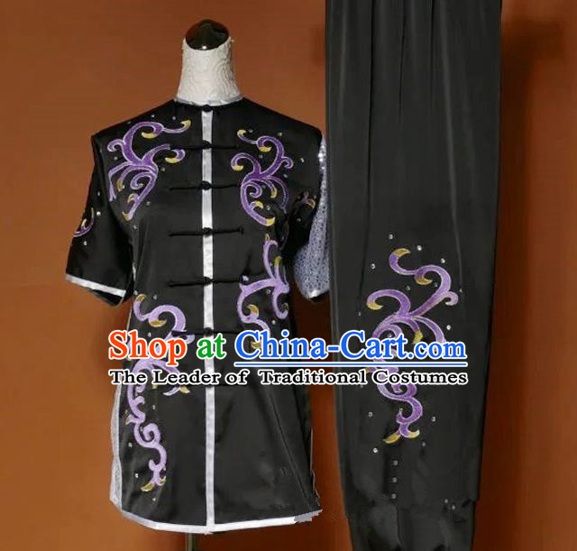 Top Grade Kung Fu Costume Asian Chinese Martial Arts Tai Chi Training Black Uniform, China Embroidery Purple Paillette Gongfu Shaolin Wushu Clothing for Women