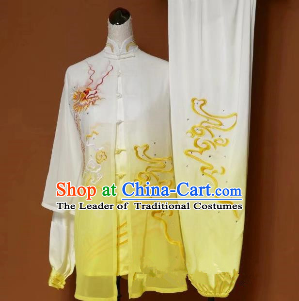 Top Grade Kung Fu Silk Costume Asian Chinese Martial Arts Tai Chi Training Yellow Cardigan Uniform, China Embroidery Dragon Gongfu Shaolin Wushu Clothing for Women